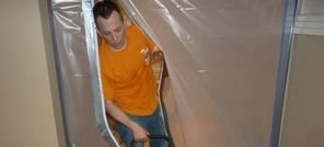 Water Damage Salem Technician Using Air Mover Near Vapor Barrier